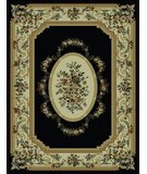 RugStudio presents 828 Rhine Collection RH13 BK Black with Ivory Border Machine Woven, Good Quality Area Rug