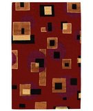 RugStudio presents 828 Tibetan Collection TIB70 Red/Black/Tan Hand-Knotted, Good Quality Area Rug