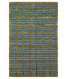 RugStudio presents 828 Tibetan Collection TIB79 Blue/Gold Hand-Knotted, Good Quality Area Rug