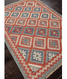 RugStudio presents Addison And Banks Flat Weave Abr0013 Burnt Brick / Medium Blue Flat-Woven Area Rug