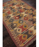 RugStudio presents Addison And Banks Flat Weave Abr0040 Cloud White / Ruby Wine Flat-Woven Area Rug