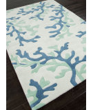 RugStudio presents Addison And Banks Hand Tufted Abr0360 White / Sea Green Hand-Tufted, Better Quality Area Rug