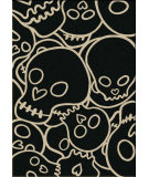 RugStudio presents American Dakota Motor Head Head Banger Black/Beige Machine Woven, Good Quality Area Rug