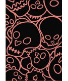 RugStudio presents American Dakota Motor Head Head Banger Black/Pink Machine Woven, Good Quality Area Rug