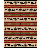 RugStudio presents American Dakota National Park Bear Adventure Red Machine Woven, Good Quality Area Rug