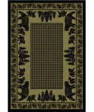 RugStudio presents American Dakota National Park Bear Family Green Machine Woven, Good Quality Area Rug