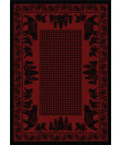 RugStudio presents American Dakota National Park Bear Family Red Machine Woven, Good Quality Area Rug