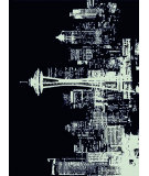 RugStudio presents American Dakota Novelty Cityscape Black Machine Woven, Good Quality Area Rug