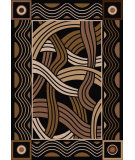RugStudio presents American Dakota New Echota Hand Coiled Black Machine Woven, Good Quality Area Rug