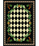 RugStudio presents American Dakota Novelty High Country Rooster Black/Ivory Machine Woven, Good Quality Area Rug