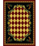 RugStudio presents American Dakota Novelty High Country Rooster Red Machine Woven, Good Quality Area Rug