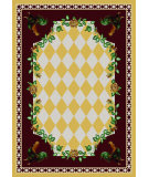 RugStudio presents American Dakota Novelty High Country Rooster Yellow Machine Woven, Good Quality Area Rug