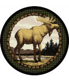 RugStudio presents American Dakota Novelty Majestic Moose Green Machine Woven, Good Quality Area Rug