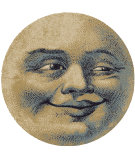 RugStudio presents American Dakota Novelty Moon Face Natural Machine Woven, Good Quality Area Rug