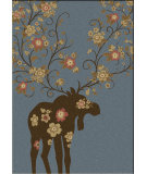 RugStudio presents American Dakota National Park Moose Blossom Blue Machine Woven, Good Quality Area Rug