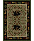 RugStudio presents American Dakota National Park Patchwork Bear Green Machine Woven, Good Quality Area Rug