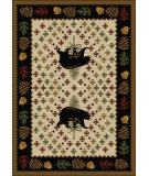 RugStudio presents American Dakota National Park Patchwork Bear Brown Machine Woven, Good Quality Area Rug