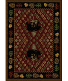 RugStudio presents American Dakota National Park Patchwork Bear Red Machine Woven, Good Quality Area Rug