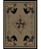 RugStudio presents American Dakota National Park Pine Cone Bears Brown Machine Woven, Good Quality Area Rug