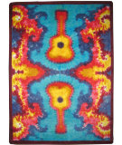 RugStudio presents American Dakota Motorhead Tie Dye Guitar Blue/Multi Machine Woven, Good Quality Area Rug