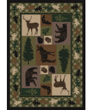RugStudio presents American Dakota National Park Wildlife Retreat Green Machine Woven, Good Quality Area Rug