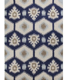 RugStudio presents Bashian Rajapur R121-Cal912 Ivory - Navy Hand-Hooked Area Rug