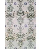 RugStudio presents Bashian Greenwich Cosmic Dance Ivory / Green Hand-Tufted, Good Quality Area Rug