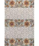 RugStudio presents Bashian Verona Floral Sediments Aqua Hand-Tufted, Good Quality Area Rug