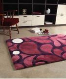 RugStudio presents Bowron Baroque 01 Merlot Magenta/Grape Hand-Tufted, Best Quality Area Rug