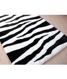RugStudio presents Bowron Zebra 26803 Black-White Hand-Tufted, Best Quality Area Rug