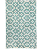 RugStudio presents Capel Blossom 116241 Pale Blue Cream Hand-Knotted, Good Quality Area Rug