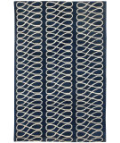 RugStudio presents Capel Twirl 116339 Dark Blue Cream Hand-Knotted, Good Quality Area Rug
