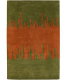 RugStudio presents Chandra Faro FAR6205 Green/Orange Hand-Tufted, Good Quality Area Rug