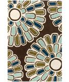RugStudio presents Chandra Thomas Paul - Tufted Pile Flora Chocolate-Aqua-Green Hand-Tufted, Good Quality Area Rug