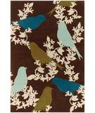 RugStudio presents Chandra Thomas Paul - Tufted Pile Goldfinch Chocolate-Aqua-Green GCAG Hand-Tufted, Good Quality Area Rug