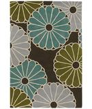 RugStudio presents Chandra Thomas Paul - Tufted Pile Parasols Chocolate-Aqua-Green PCAG Hand-Tufted, Good Quality Area Rug