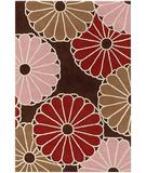 RugStudio presents Chandra Thomas Paul - Tufted Pile Parasols Chocolate-Taupe-Persimmon PCTP Hand-Tufted, Good Quality Area Rug