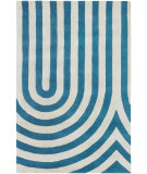 RugStudio presents Chandra Thomas Paul Textiles Geometric T-GEBC Blue/Cream Hand-Tufted, Good Quality Area Rug