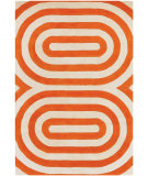RugStudio presents Chandra Thomas Paul Textiles Geometric T-GEPC Orange/Cream Hand-Tufted, Good Quality Area Rug