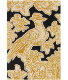 RugStudio presents Chandra Thomas Paul Textiles Toile T-TOEC Gold/Black Hand-Tufted, Good Quality Area Rug