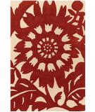 RugStudio presents Chandra Thomas Paul - Tufted Pile Zinnia Persimmon-Cream ZIPC Hand-Tufted, Good Quality Area Rug