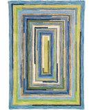 RugStudio presents Company C Concentric Squares 18143 Sky Hand-Hooked Area Rug
