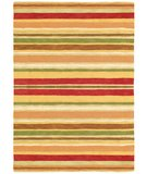 RugStudio presents Company C Sheffield Stripe 18237 Poppy Hand-Hooked Area Rug