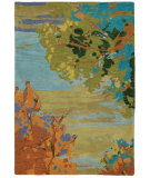 RugStudio presents Company C Landscape 18862 Teal Hand-Hooked Area Rug