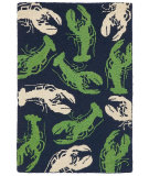 RugStudio presents Company C Lobsterfest 19004 Navy and Green Hand-Hooked Area Rug
