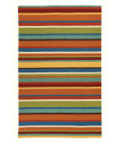 RugStudio presents Company C Cabana Stripe 18987 Orange Hand-Hooked Area Rug