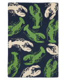 RugStudio presents Company C Lobsterfest 80941 Navy And Green Hand-Hooked Area Rug