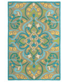 RugStudio presents Rugstudio Sample Sale 80947R Aqua Hand-Hooked Area Rug