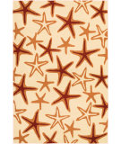 RugStudio presents Couristan Beachfront Starfish Ivory/Coral Hand-Hooked Area Rug