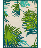 RugStudio presents Couristan Covington Jungle Leaves Ivory forest green Hand-Hooked Area Rug